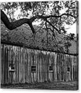 Barn With Brick Silo In Black And White Canvas Print