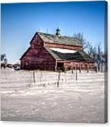 Barn With Melting Snow Canvas Print