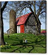 Barn With Silo In Springtime Canvas Print