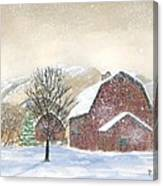 Barns In Winter Canvas Print