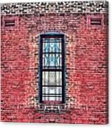 Barred Windows On Brick Canvas Print