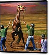 Barrington Harvey Looks On Horse Peekarandoconer Moment Canvas Print