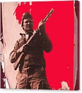 Barry Sadler Machine Gun Authentic Ww2 Africa Korps Hat Camouflage Clothes Collage Tucson 1971-2012 Canvas Print