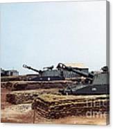 Base Camp Artillery Guns Self-propelled Howitzer M109 Camp Enari Central Highlands Vietnam 1969 Canvas Print