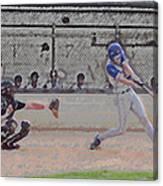 Baseball Batter Contact Digital Art Canvas Print