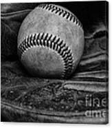 Baseball Broken In Black And White Canvas Print