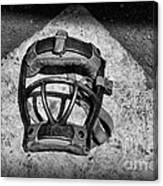 Baseball Catchers Mask Vintage In Black And White Canvas Print