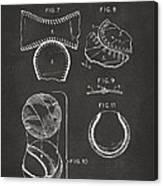 Baseball Construction Patent 2 - Gray Canvas Print