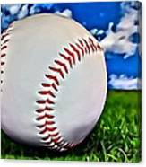 Baseball In The Grass Canvas Print