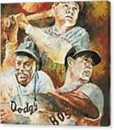 Baseball Legends Babe Ruth Jackie Robinson And Ted Williams Canvas Print