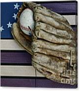 Baseball Mitt On American Flag Folk Art Canvas Print