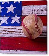 Baseball On American Flag Canvas Print