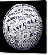 Baseball Terms Typography 2 Canvas Print