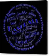 Baseball Terms Typography Blue On Black Canvas Print