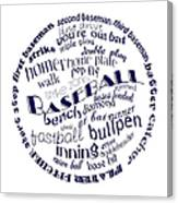 Baseball Terms Typography Blue On White Canvas Print