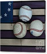 Baseballs On American Flag Folkart Canvas Print