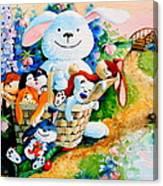 Basket Of Bunnies Canvas Print