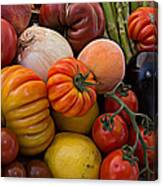 Basket Of Fruits And Vegetables Canvas Print