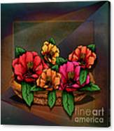 Basket Of Hibiscus Flowers Canvas Print