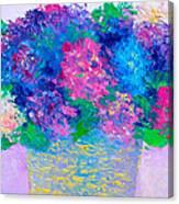 Basket Of Hydrangeas Canvas Print