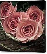 Basket Of Roses Canvas Print