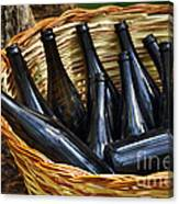 Basket With Bottles Canvas Print