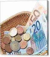 Basket With Coins And Banknotes Canvas Print