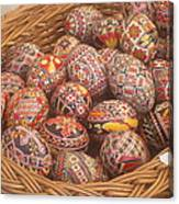 Basket With Easter Eggs Canvas Print