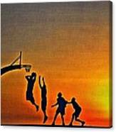 Basketball Sunrise Canvas Print