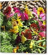 Basketful Of Flowers Canvas Print