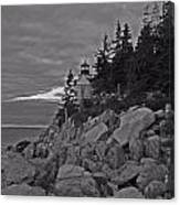 Bass Harbor Black And White   Canvas Print