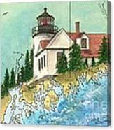 Bass Harbor Lighthouse Me Nautical Chart Map Art Cathy Peek Canvas Print