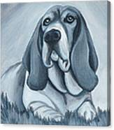 Basset Hound In Black And White Canvas Print