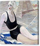 Bather In A Black Swimsuit Canvas Print