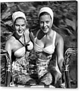 Bathing Beauties Black And White Canvas Print