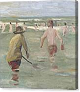 Bathing Boys With Crab Fisherman Canvas Print