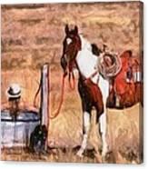 Bathing Cowgirl Canvas Print