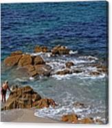 Bathing In The Sea - La Coruna Canvas Print