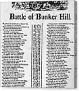 Battle Of Bunker Hill Canvas Print