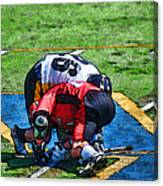 Battling For The Ball Canvas Print