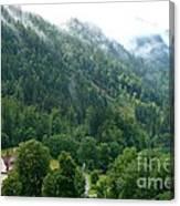 Bavarian Mountain Slope With Mist Canvas Print