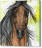Bay Arabian Horse Watercolor Painting  Canvas Print