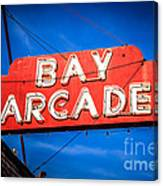 Bay Arcade Sign In Newport Beach Balboa Peninsula Canvas Print