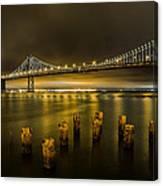 Bay Bridge And Clouds At Night Canvas Print