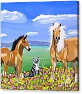 Bay Colt Golden Palomino And Pal Canvas Print