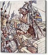 Bayard Defends The Bridge, Illustration Canvas Print