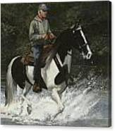Big Creek Man On Spotted Horse Canvas Print