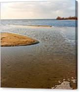 Beach And Rippled Water At The Wadden Sea. Canvas Print