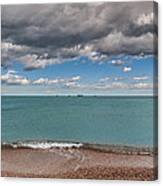 Beach And Ships. Canvas Print