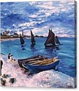 Beach At Sainte Adresse Monet Canvas Print